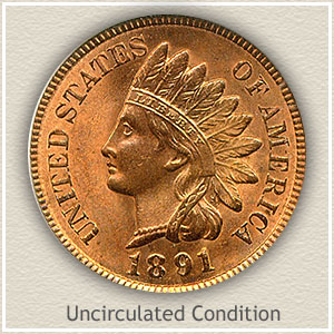 1891 Indian Head Penny Uncirculated Condition