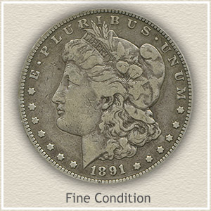 1891 Morgan Silver Dollar Fine Condition