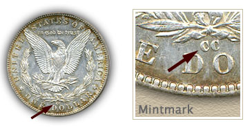 Mintmark Location 1892 Morgan Silver Dollar