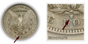 Mintmark Location 1893 Morgan Silver Dollar