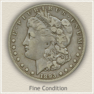 1893 Morgan Silver Dollar Fine Condition