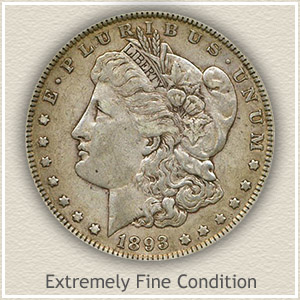 1893 Morgan Silver Dollar Extremely Fine Condition
