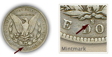 Mintmark Location 1894 Morgan Silver Dollar