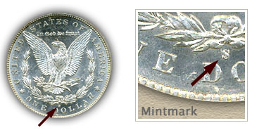 Mintmark Location 1895 Morgan Silver Dollar