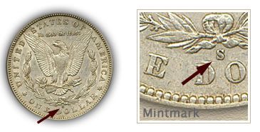 Mintmark Location 1896 Morgan Silver Dollar
