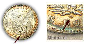 Mintmark Location 1897 Morgan Silver Dollar