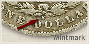 Mintmark Location 1900 Morgan Silver Dollar