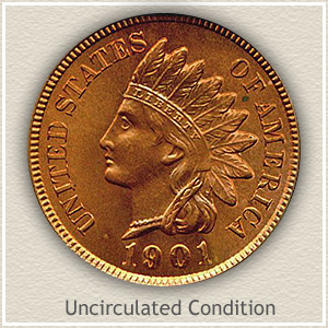 1901 Indian Head Penny Uncirculated Condition