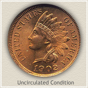 1902 Indian Head Penny Uncirculated Condition