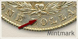 Mintmark Location 1902 Morgan Silver Dollar