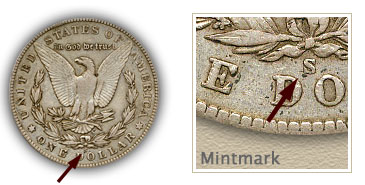 Mintmark Location 1902 Morgan Silver Dollar
