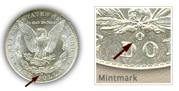 Mintmark Location 1903 Morgan Silver Dollar