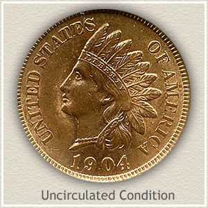 1904 Indian Head Penny Uncirculated Condition