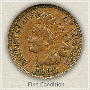 1908 Indian Head Penny Fine Condition