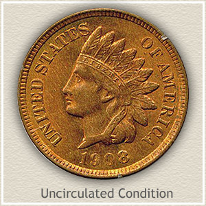 1908 Indian Head Penny Uncirculated Condition