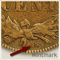 1908 Penny S Mintmark Location