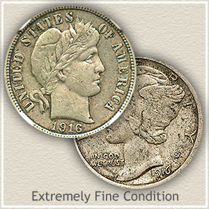 1916 Dime Extremely Fine Condition