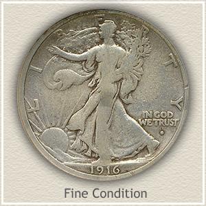 1916 Half Dollar Fine Condition