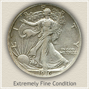 1916 Half Dollar Extremely Fine Condition