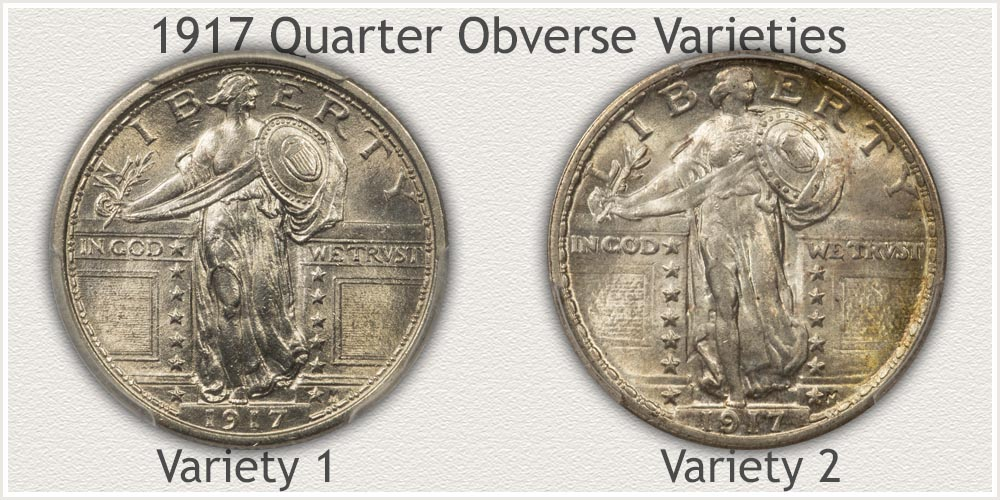 Obverse of 1917 Type 1 and Type 2 Standing Liberty Quarters