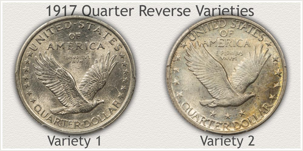 Reverse of 1917 Type 1 and Type 2 Standing Liberty Quarters