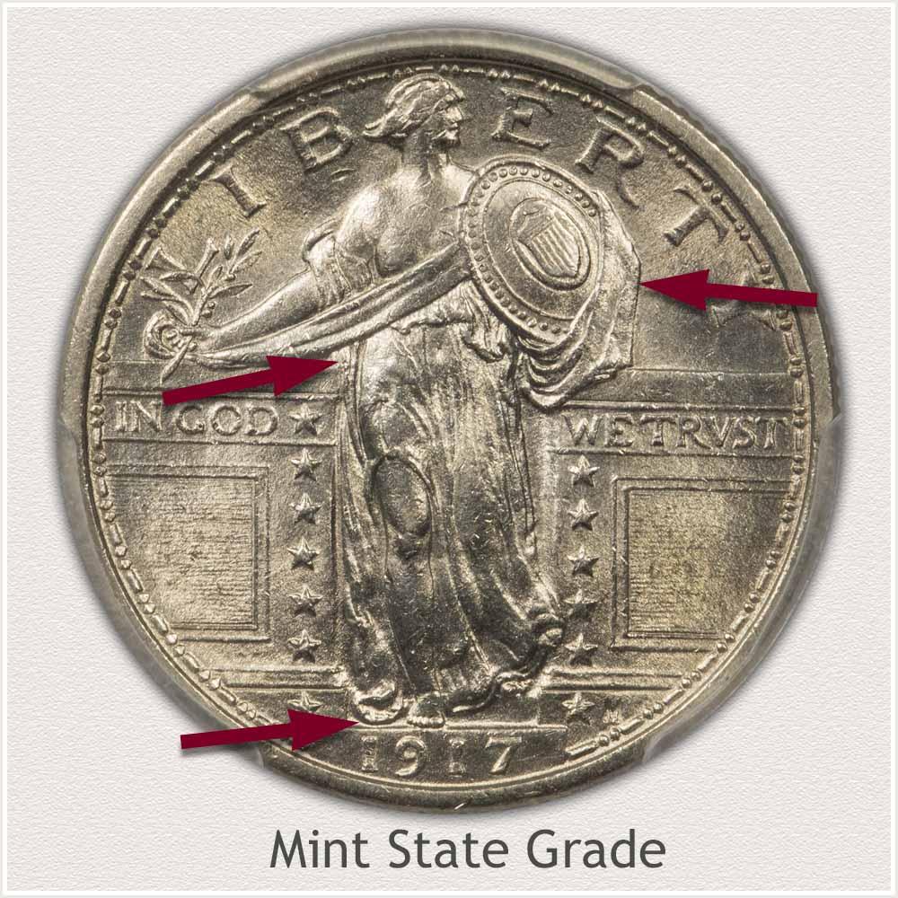 1917 Standing Liberty Quarter Mint State Grade