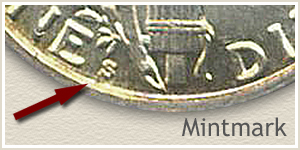 1918 Dime S Mintmark Location