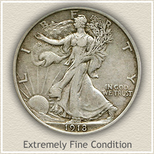 1918 Half Dollar Extremely Fine Condition