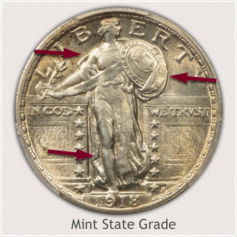 1918 Standing Liberty Quarter Mint State Grade