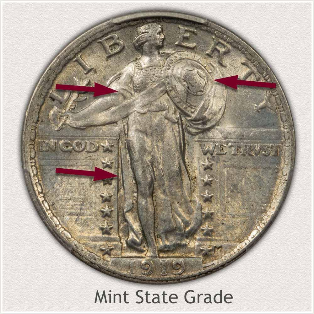 1919 Standing Liberty Quarter Mint State Grade