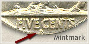 1920 Nickel D Mintmark Location