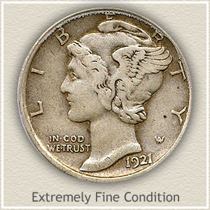 1921 Dime Extremely Fine Condition
