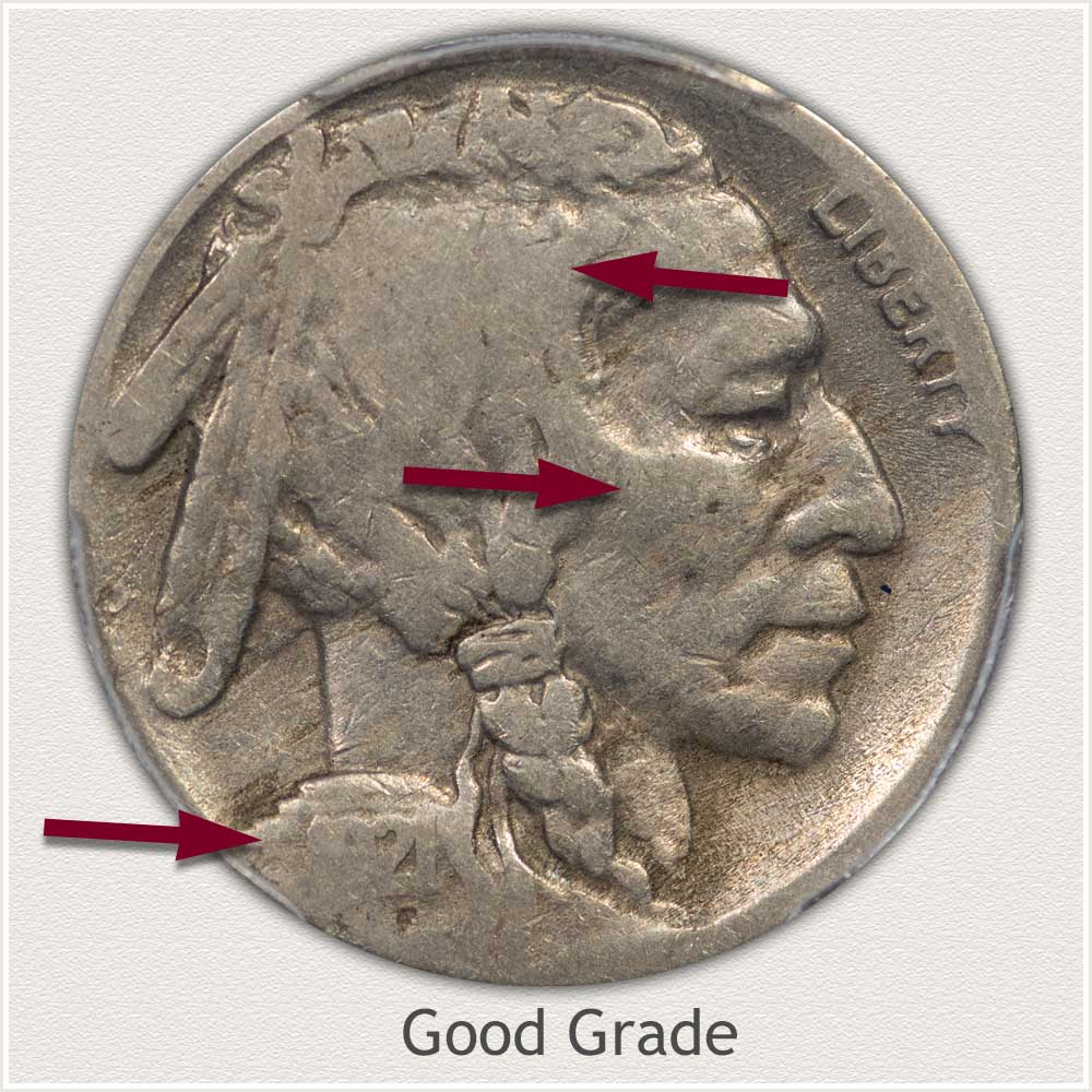 1921-S Buffalo Nickel in Good Grade