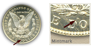 Mintmark Location 1921 Morgan Silver Dollar