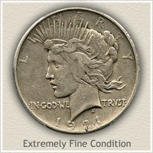 1921 Peace Silver Dollar Extremely Fine Condition