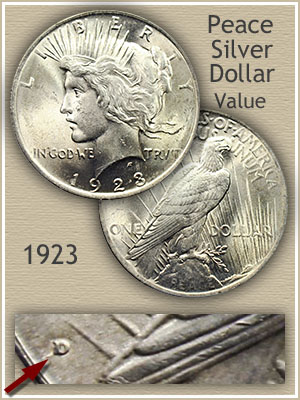 Uncirculated 1923 Peace Silver Dollar Value