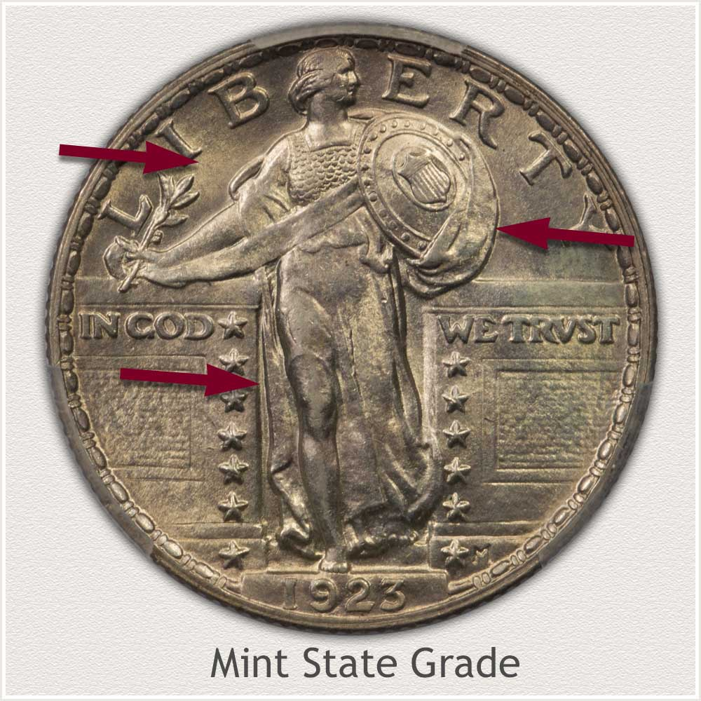 1923 Standing Liberty Quarter Mint State Grade