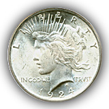 1924 Peace Silver Dollar Uncirculated Condition