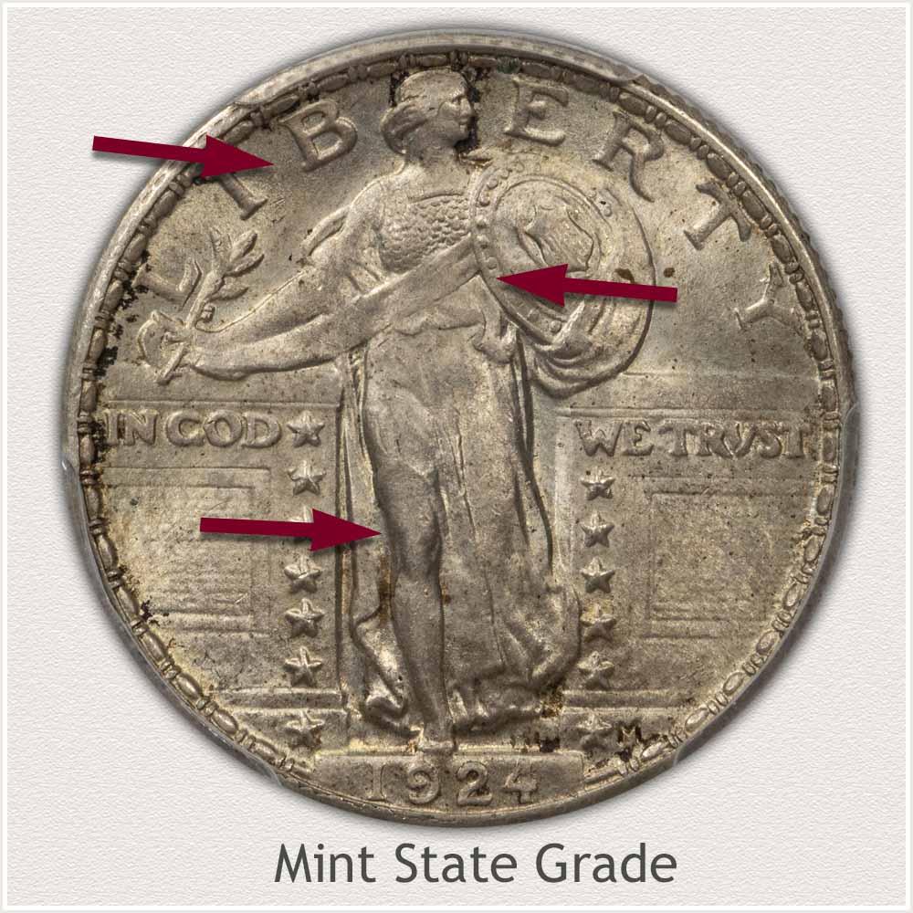 1924 Standing Liberty Quarter Mint State Grade