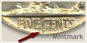 1925 Nickel D Mintmark Location