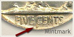 1925 Nickel D Mintmark Location