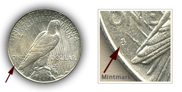 Mintmark Location 1925-S Peace Silver Dollar