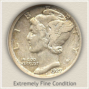 1927 Dime Extremely Fine Condition