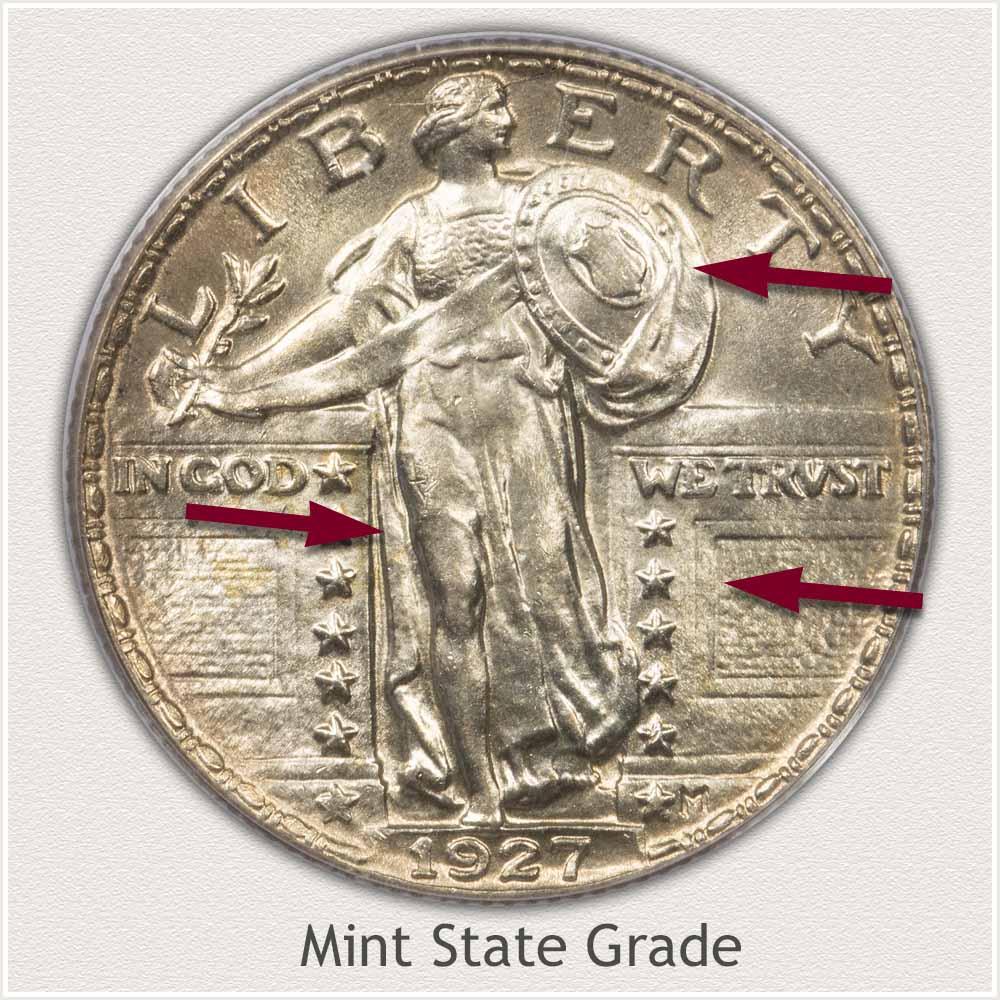 1927 Standing Liberty Quarter Mint State Grade