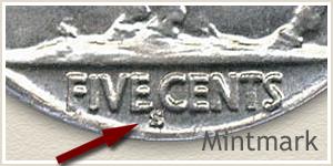 1928 Nickel S Mintmark Location
