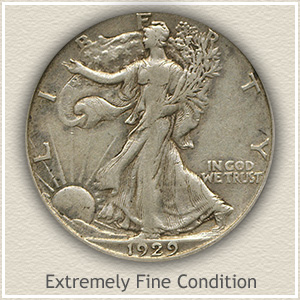 1929 Half Dollar Extremely Fine Condition
