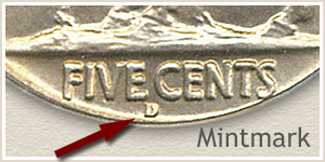 1929 Nickel D Mintmark Location