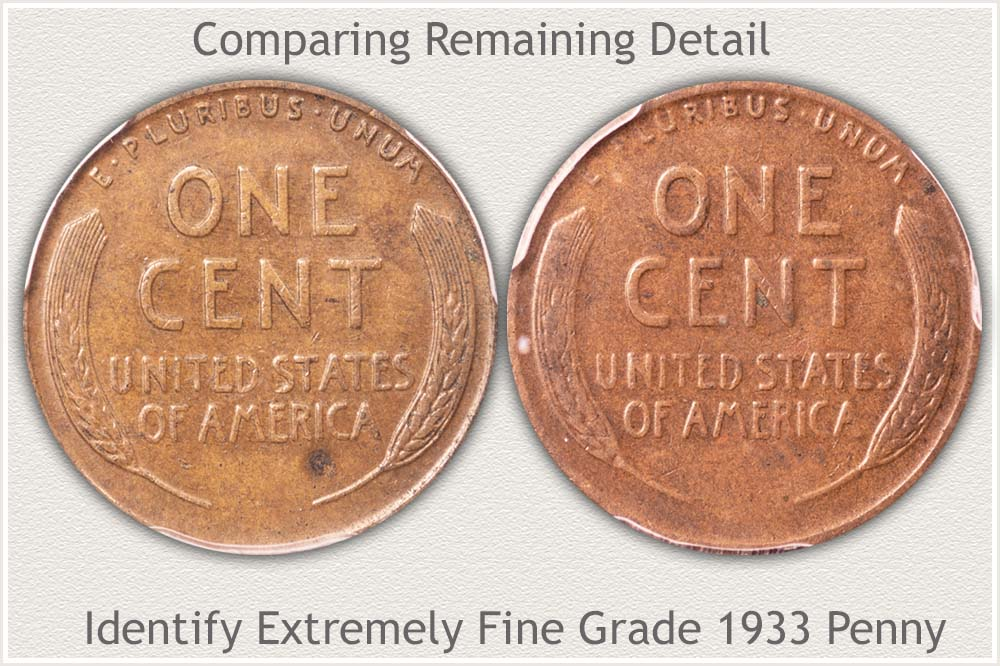 1933 Extremely Fine Reverse | 1933 Fine Grade Reverse