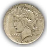 1934 Peace Silver Dollar Fine Condition