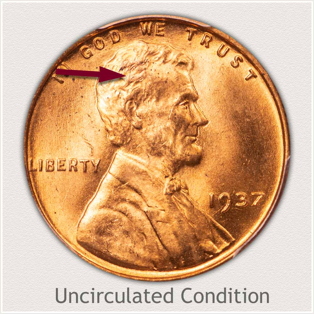 Uncirculated Grade 1937 Lincoln Penny